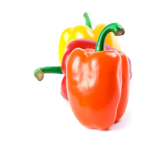 three bell peppers isolated on white background Stock Photo - 7716730