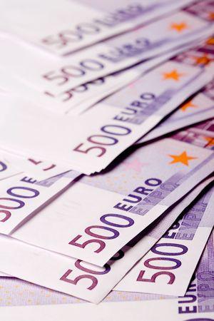 euro banknotes: 500 euro banknotes background Stock Photo