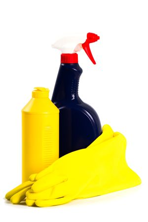 products for cleaning isolated on white background  photo