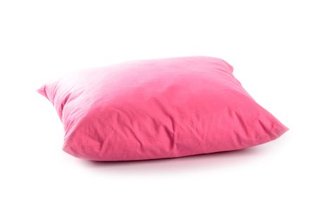 bed spreads: pink pillow isolated on white background