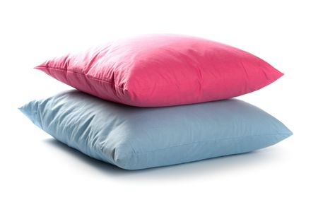 pink and blue pillows isolated on white background  photo