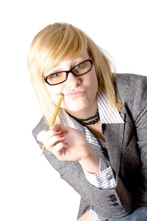 young businesswoman with pencil on white background Stock Photo - 7981502
