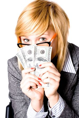 closeup portrait of businesswoman with money Stock Photo - 7981506