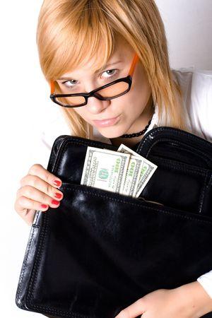 attractive businesswoman with portfolio and money on white background photo