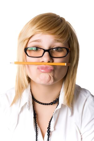 young businesswoman with pencil on white background photo