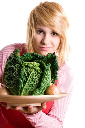 young beautiful woman with fresh savoy cabbage and onions on white background Stock Photo - 8033430