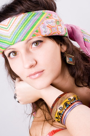 closeup portrait of beautiful young hippie woman Stock Photo - 8316570