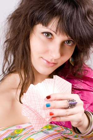 closeup portrait of soothsayer with scrying cards Stock Photo - 8316574