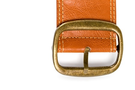 brown belt with bronze buckle closeup on white background photo