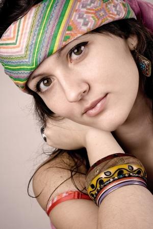 closeup portrait of beautiful young hippie woman Stock Photo - 8360636