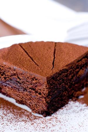 piece of chocolate cake on white plate closeup photo