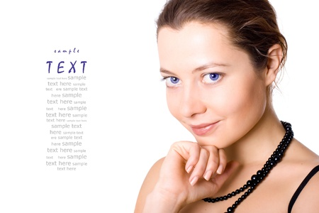 portrait of young attractive woman on white background (sample text) photo