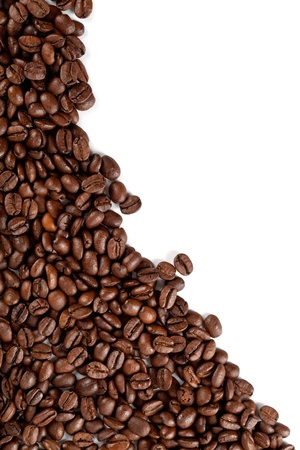 colombian food: coffee beans closeup on a white background