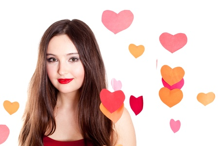 closeup portrait of attractive young woman on Valentines day photo
