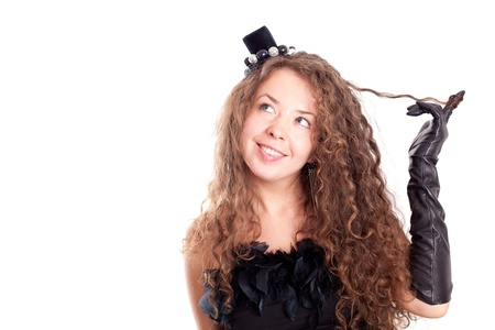 portrait of beautiful young woman in a black dress and gloves isolated on white background Stock Photo - 8768966