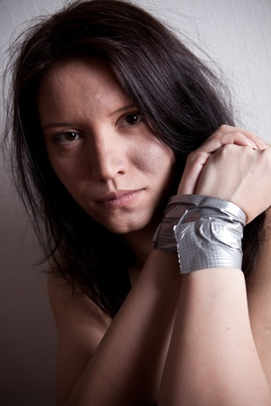 kidnapped young woman, hostage closeup  Stock Photo - 8889974