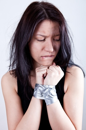 kidnapped young woman, hostage closeup Stock Photo - 8889970