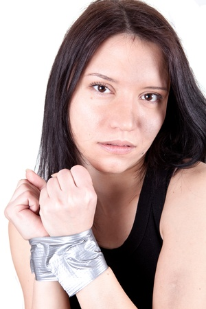 kidnapped young woman, hostage closeup on white background Stock Photo - 8986352