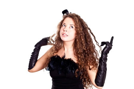 portrait of beautiful young woman in a black dress and gloves isolated on white background Stock Photo - 9169744