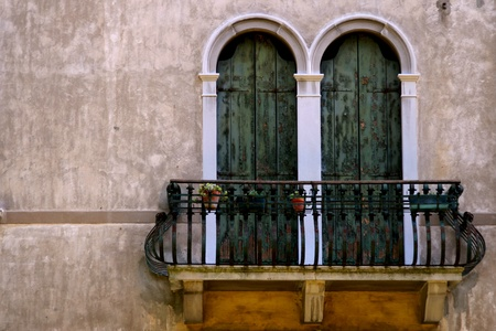 Italian balcony with flowers  photo