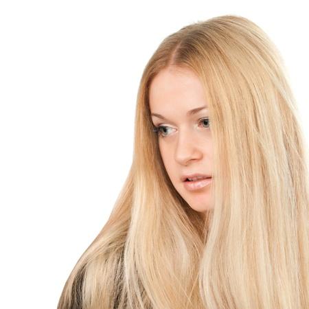portrait de femme jolie blonde sur fond blanc photo