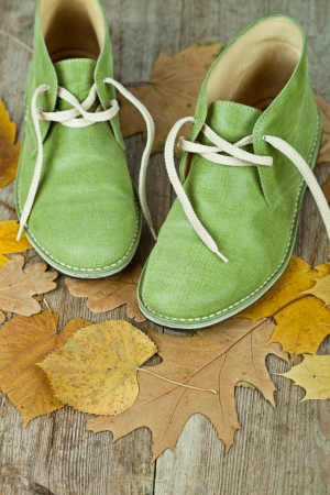 pair of green leather boots and yellow leaves on an old wooden floor Stock Photo - 15179440