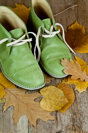 pair of green leather boots and yellow leaves on an old wooden floor Stock Photo - 15266078
