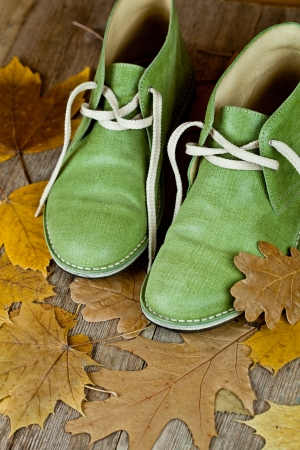 pair of green leather boots and yellow leaves on an old wooden floor Stock Photo - 15731219