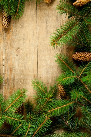christmas fir tree with pinecones frame on a wooden board photo