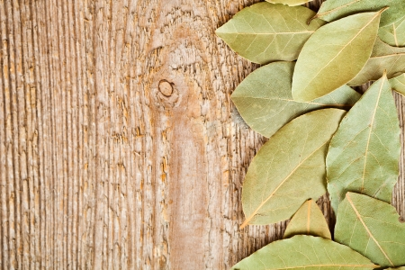bay leaves frame on wooden board photo