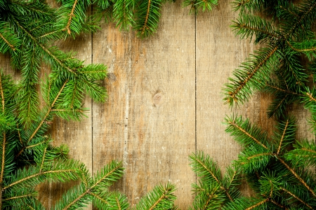 christmas fir tree frame on rustic wooden board photo