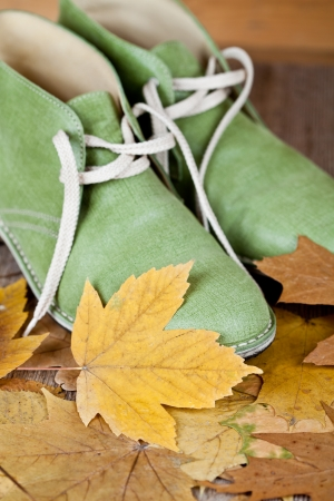 pair of green leather boots and yellow leaves on an old wooden floor  Stock Photo - 16678103