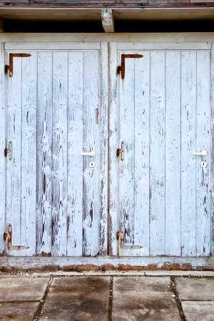 transom: two old doors with cracked paint background  Stock Photo