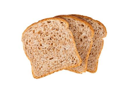 白い背景で隔離 3 つの新鮮なパンのスライス 写真素材