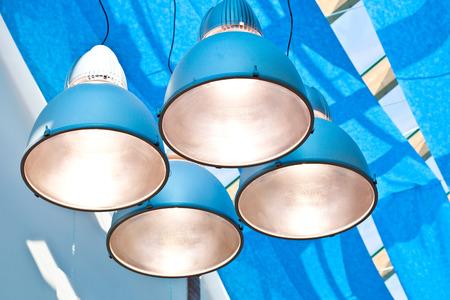 metal lamps in modern blue cieling