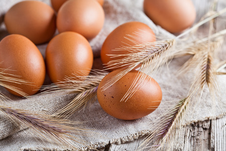 fresh brown eggs and wheat ears on linen background  photo