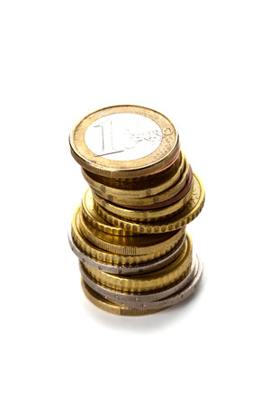 stack of euro coins on white background photo