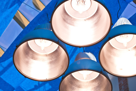 cieling: metal lamps in modern blue cieling