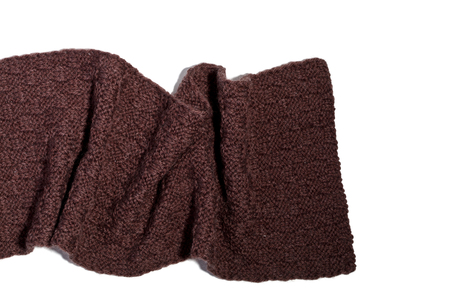 knitted brown scarf isolated on white background