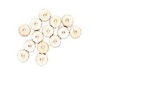 Fresh baked cookies heap topview on white background. Stock Photo