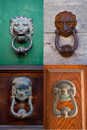 Ancient italian door knockers collection. Stock Photo