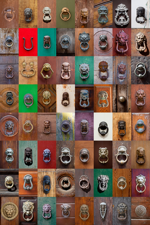 Ancient italian door knockers and handles - large collection. Imagens