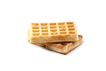 Belgium waffers isolated on white background. Two fresh baked wafers.