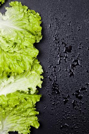 Green organic lettuce salad leaves frame on wet black background. Top view on black background vith copy space. Zdjęcie Seryjne - 121869990