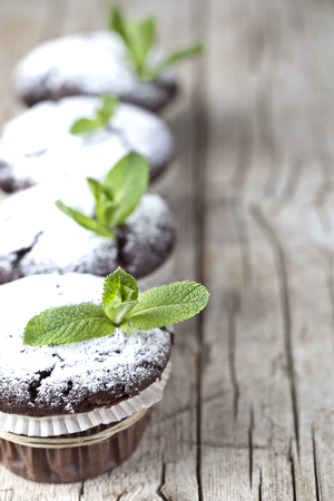 Fresh chocolate dark muffins with sugar powder and mint leaf on rustic wooden table background. With copy space. Standard-Bild