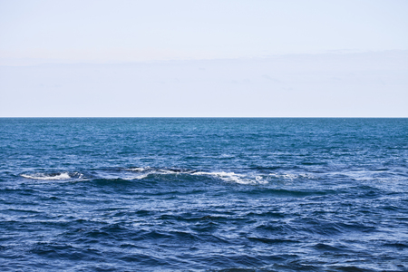 Waving water surface of the Adriatic sea and sky background.