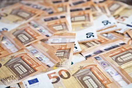 Fifty euro banknotes background. 50€ currency notes. Money bank finance business concept. Stockfoto