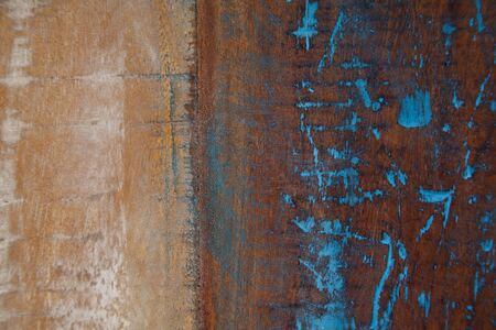 Wooden grunge wooden painted texture. Ancient brown and blue background.