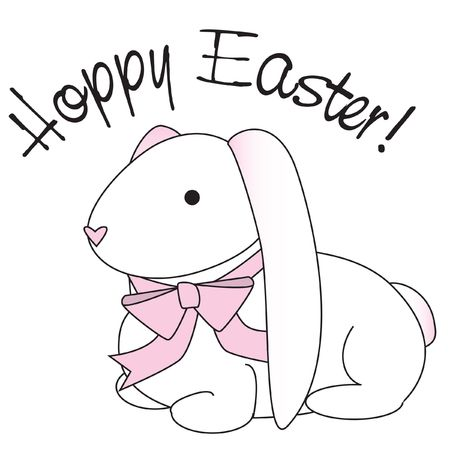 Illustration of a floppy eared bunny with a pink bow and the words hoppy easter.
