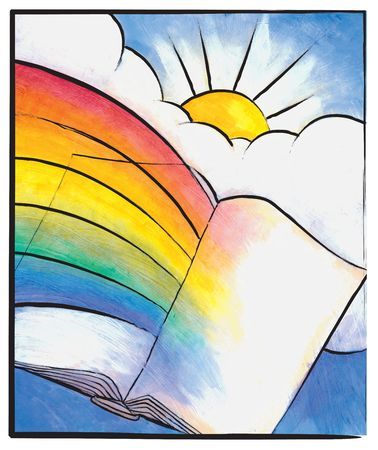 entertain: Painting of a rainbow ending in the spine of a book